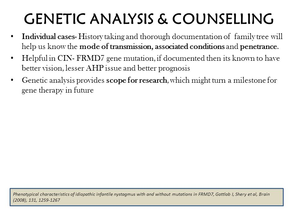 GENETIC ANALYSIS & COUNSELLING