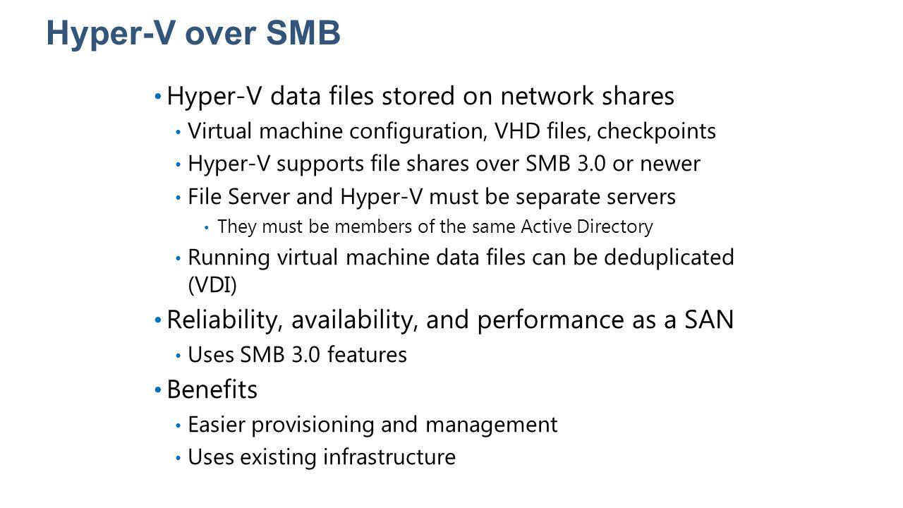 Hyper-V over SMB Hyper-V data files stored on network shares