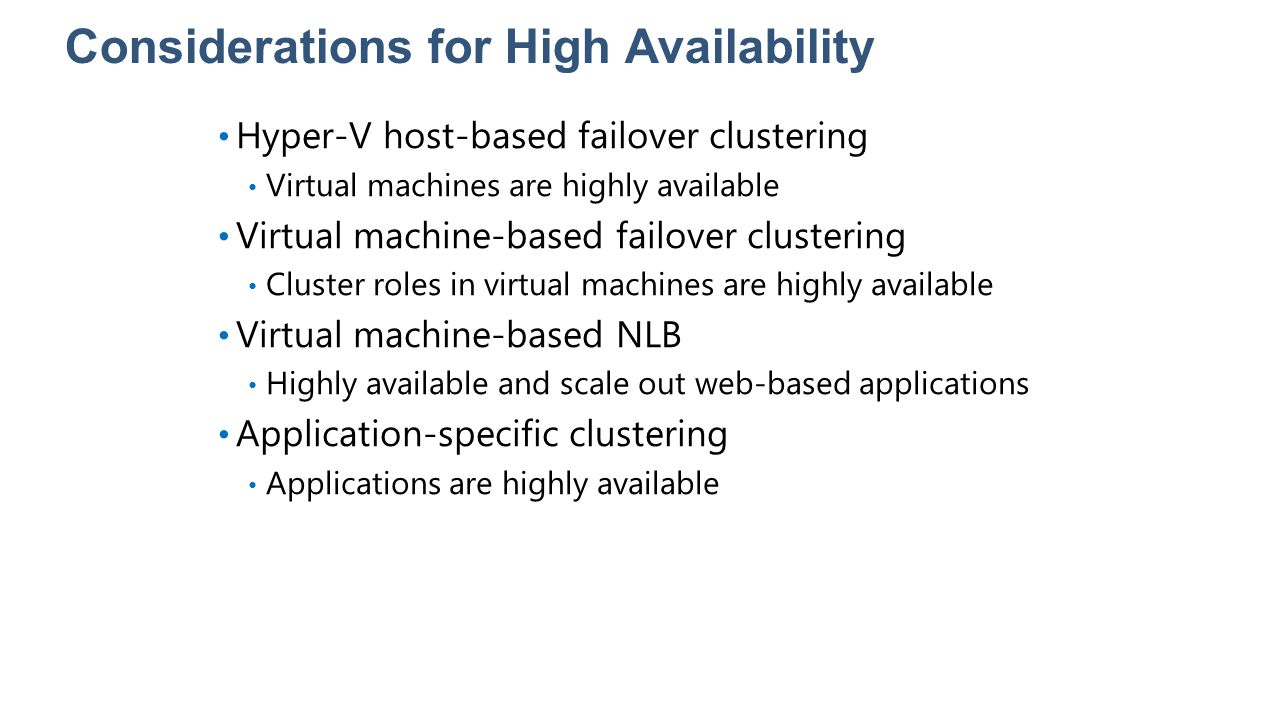 Considerations for High Availability