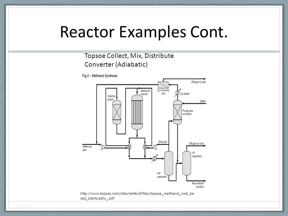 Reactor Examples Cont. Topsoe Collect, Mix, Distribute Converter (Adiabatic)