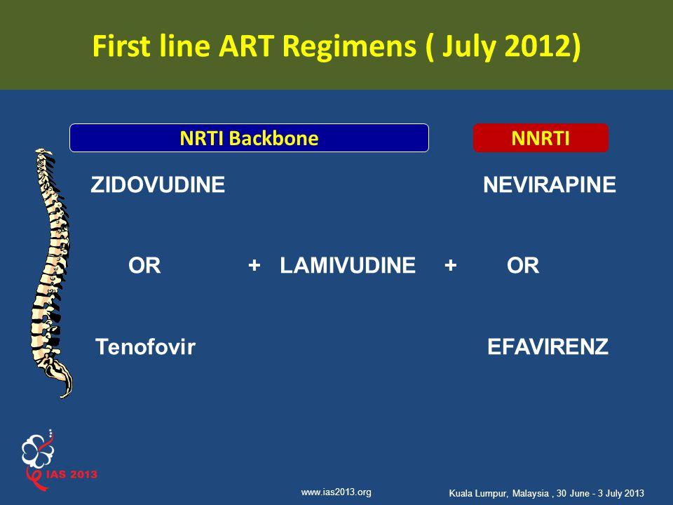 First line ART Regimens ( July 2012)