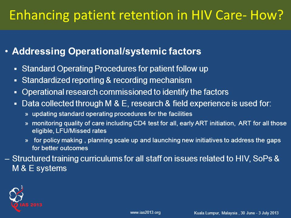Enhancing patient retention in HIV Care- How