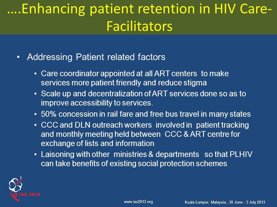 ….Enhancing patient retention in HIV Care- Facilitators