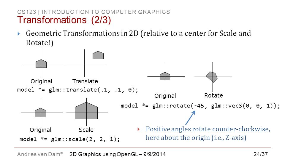 Transformations (2/3) Geometric Transformations in 2D (relative to a center for Scale and Rotate!)