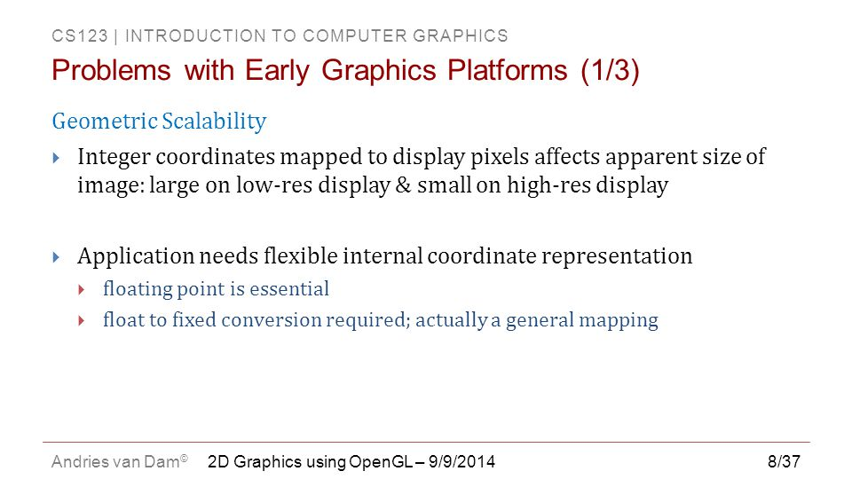 Problems with Early Graphics Platforms (1/3)