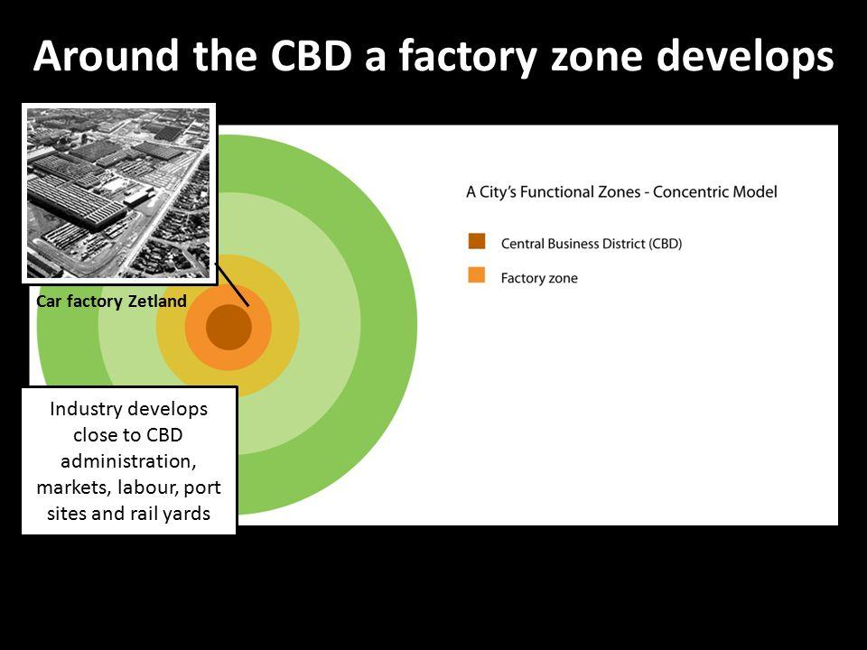 Around the CBD a factory zone develops
