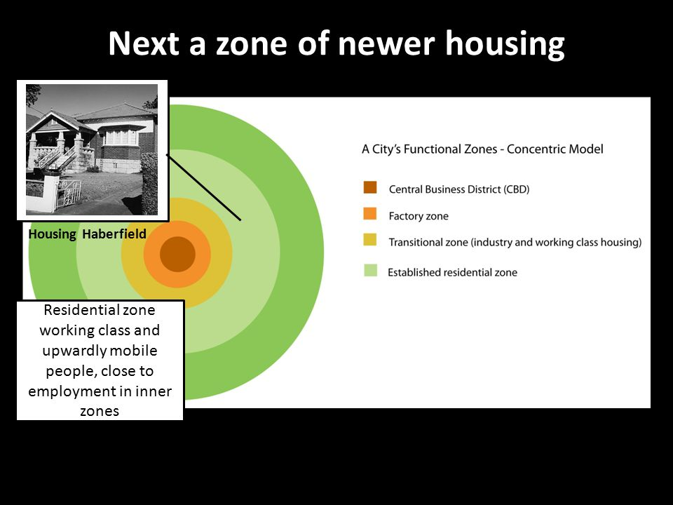 Next a zone of newer housing