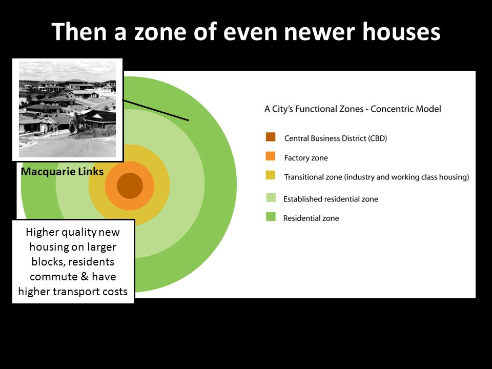 Then a zone of even newer houses