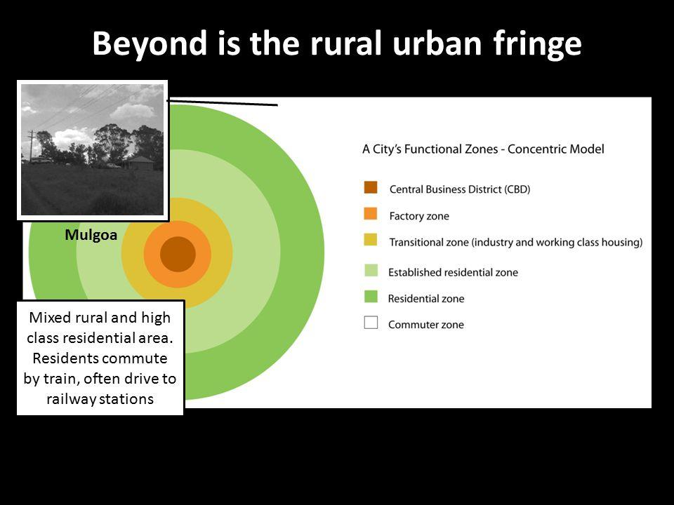 Beyond is the rural urban fringe