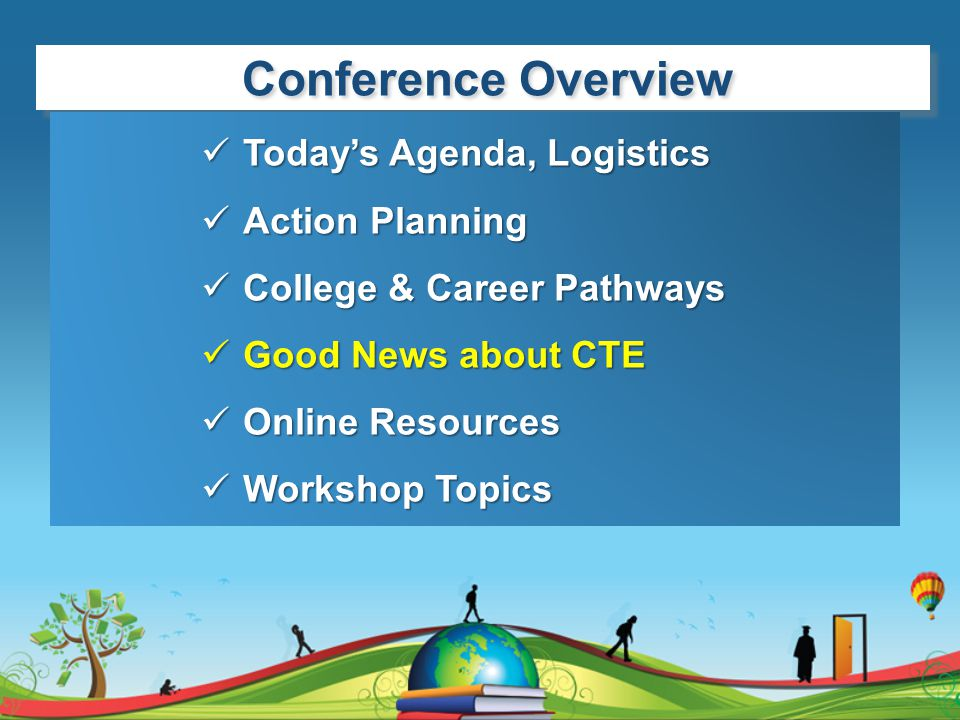 Conference Overview Today's Agenda, Logistics Action Planning