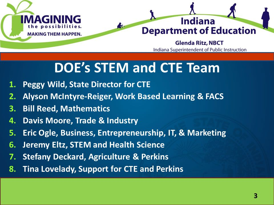 DOE's STEM and CTE Team Peggy Wild, State Director for CTE