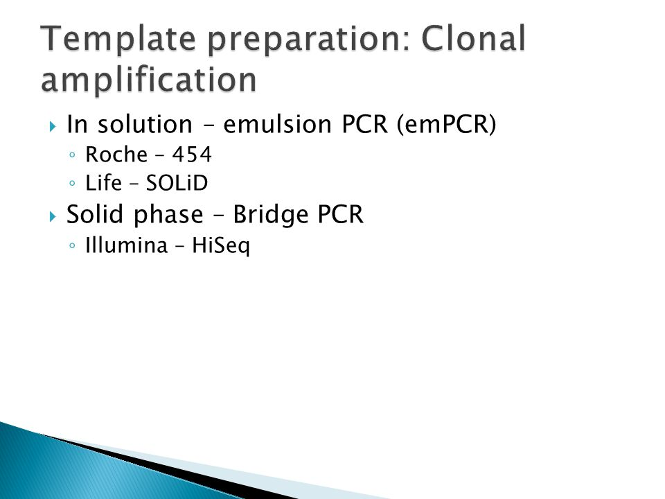 Template preparation: Clonal amplification