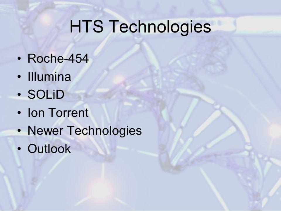 HTS Technologies Roche-454 Illumina SOLiD Ion Torrent