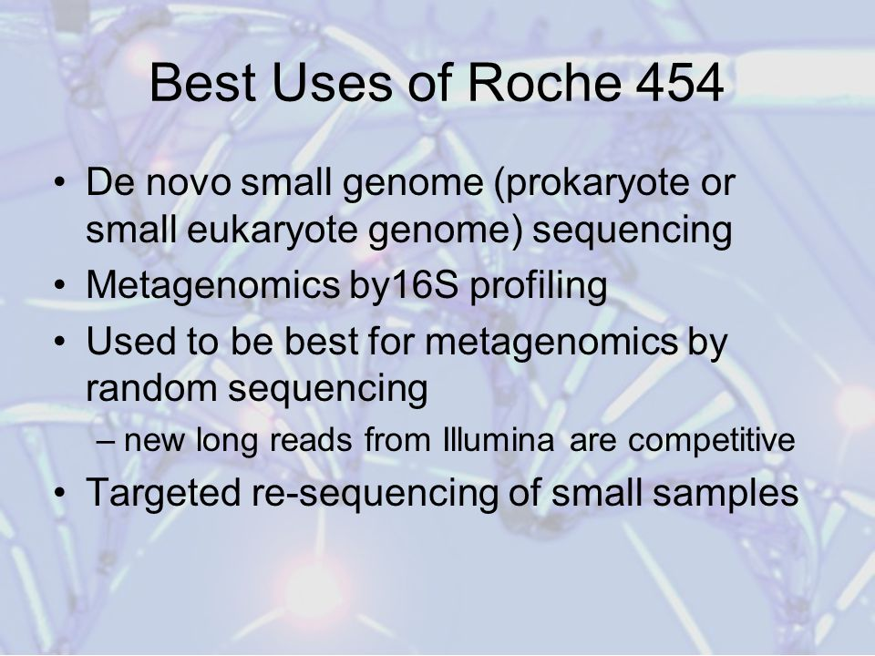 Best Uses of Roche 454 De novo small genome (prokaryote or small eukaryote genome) sequencing. Metagenomics by16S profiling.
