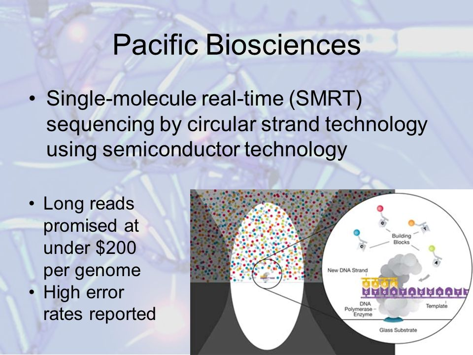 Pacific Biosciences Single-molecule real-time (SMRT) sequencing by circular strand technology using semiconductor technology.