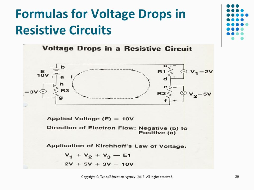 Formulas for Voltage Drops in Resistive Circuits