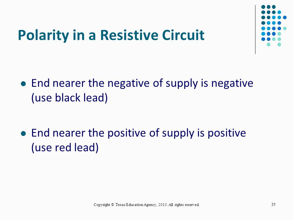 Polarity in a Resistive Circuit