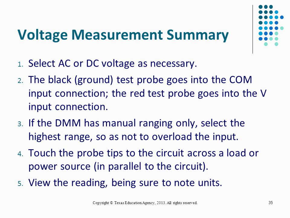 Voltage Measurement Summary
