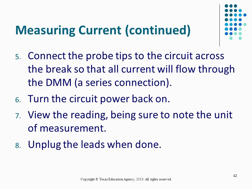 Measuring Current (continued)