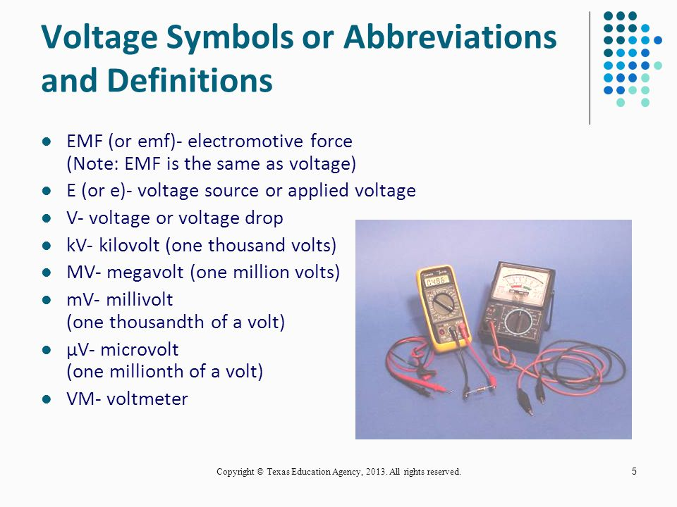 Voltage Symbols or Abbreviations and Definitions