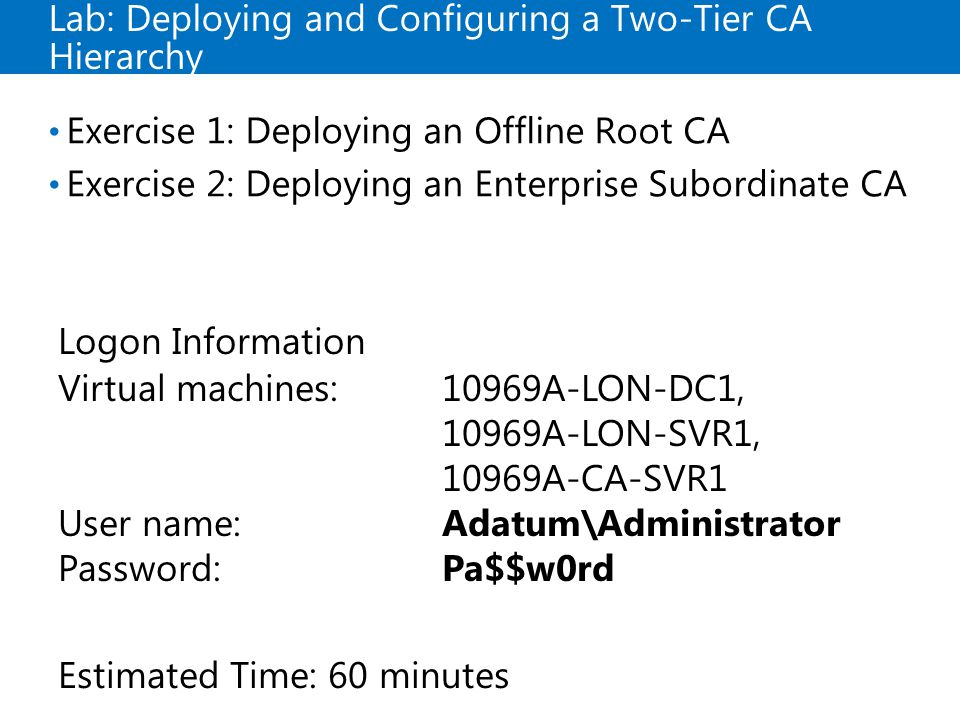 Lab: Deploying and Configuring a Two-Tier CA Hierarchy