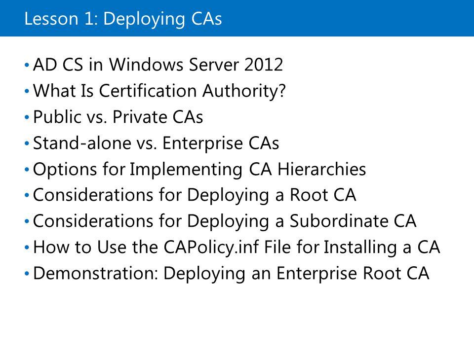 Demonstration: Deploying an Enterprise Root CA