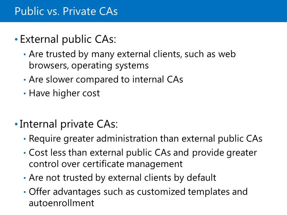 Public vs. Private CAs External public CAs: Internal private CAs: