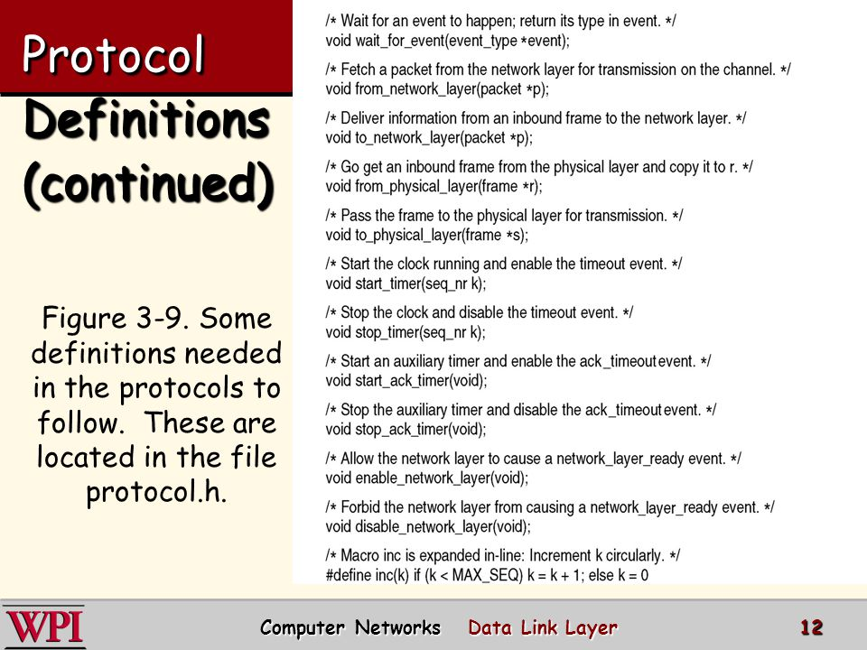 Protocol Definitions (continued)