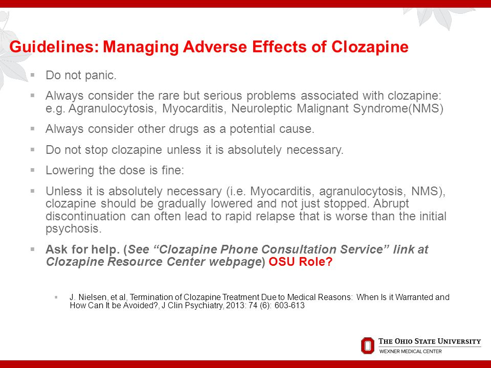 Guidelines: Managing Adverse Effects of Clozapine