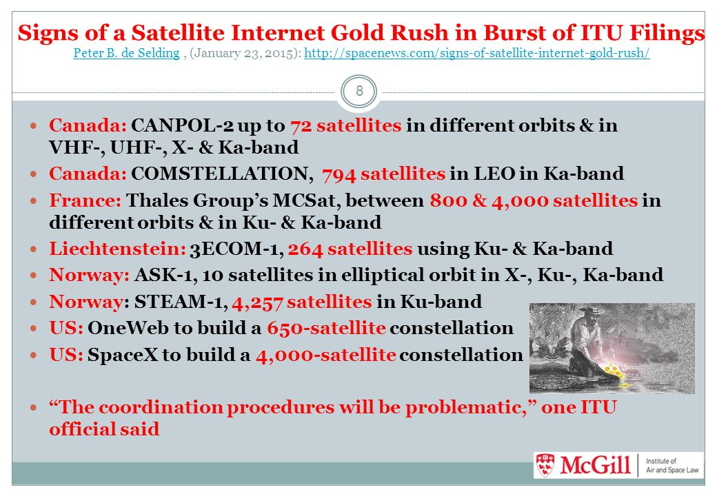 Signs of a Satellite Internet Gold Rush in Burst of ITU Filings Peter B. de Selding , (January 23, 2015): http://spacenews.com/signs-of-satellite-internet-gold-rush/