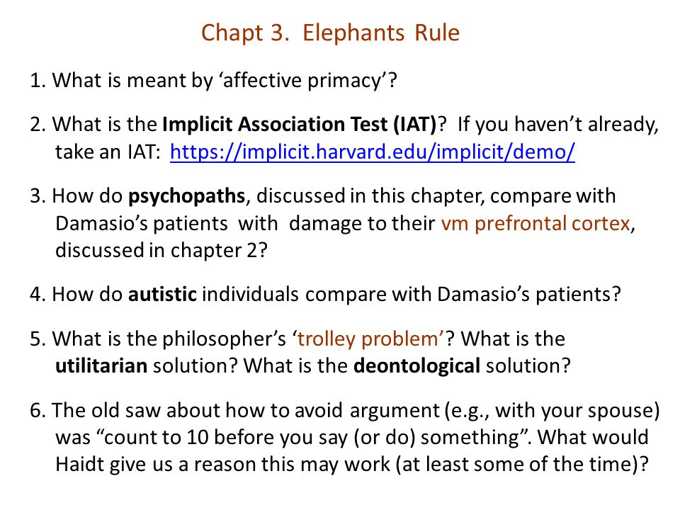 Chapt 3. Elephants Rule 1. What is meant by 'affective primacy'