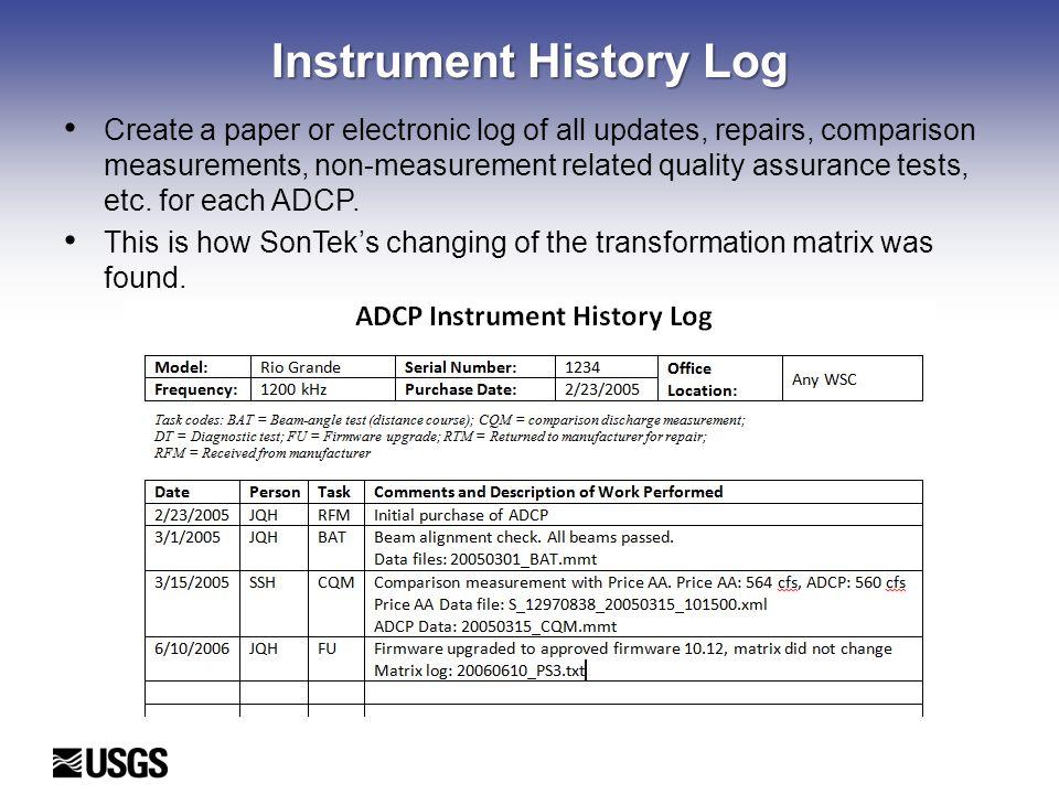 Instrument History Log