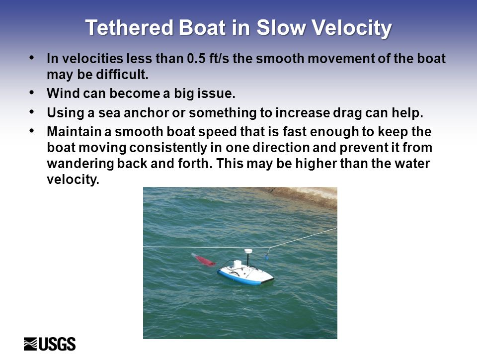 Tethered Boat in Slow Velocity