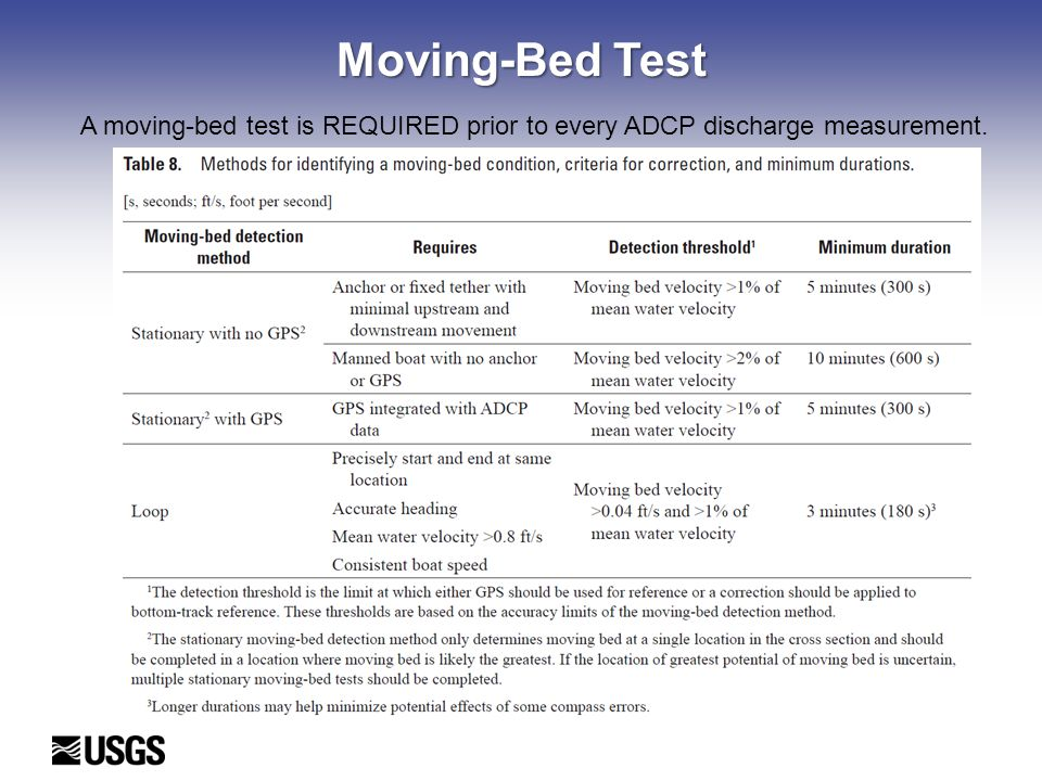 Moving-Bed Test A moving-bed test is REQUIRED prior to every ADCP discharge measurement.