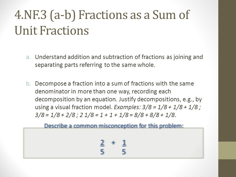 4.NF.3 (a-b) Fractions as a Sum of Unit Fractions