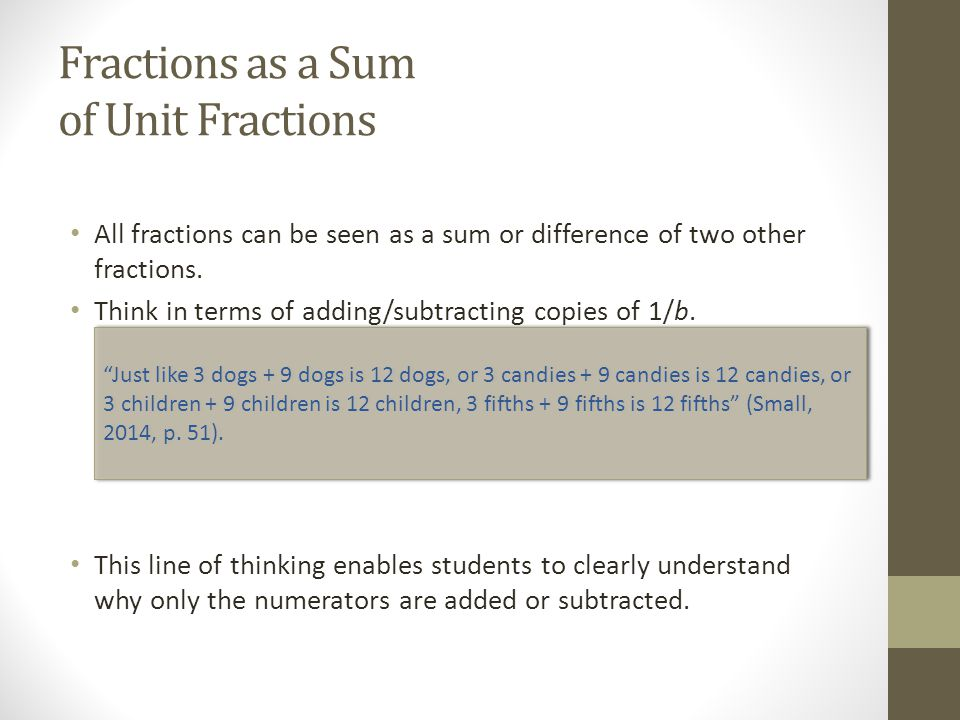 Fractions as a Sum of Unit Fractions