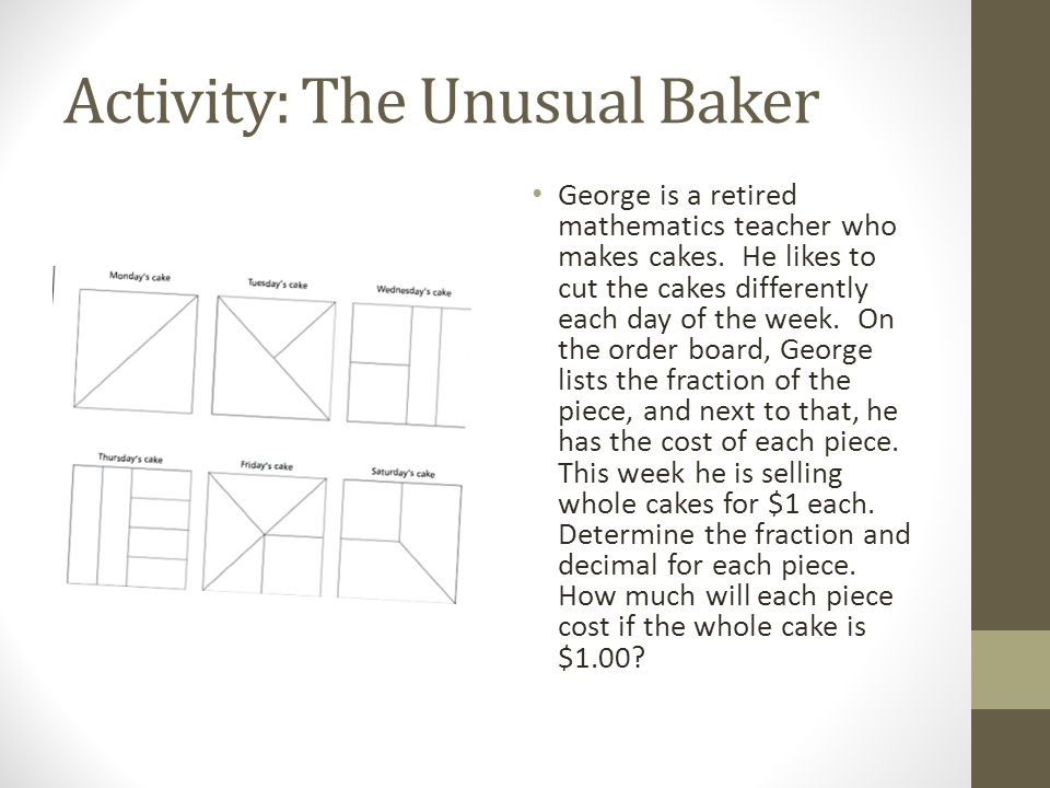 Activity: The Unusual Baker