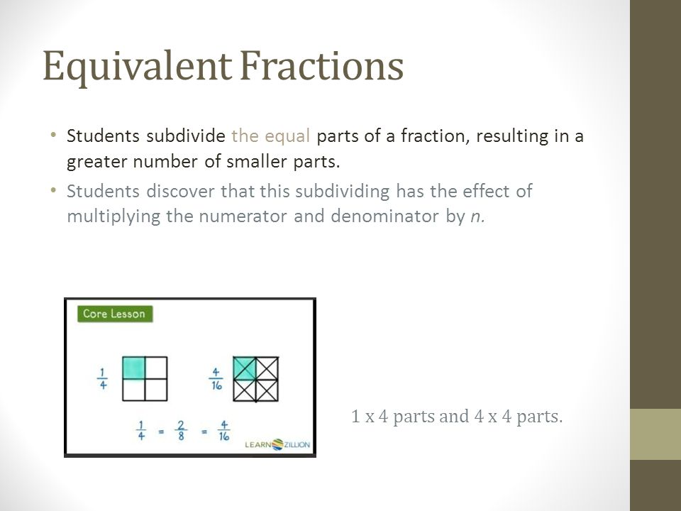 Equivalent Fractions Students subdivide the equal parts of a fraction, resulting in a greater number of smaller parts.
