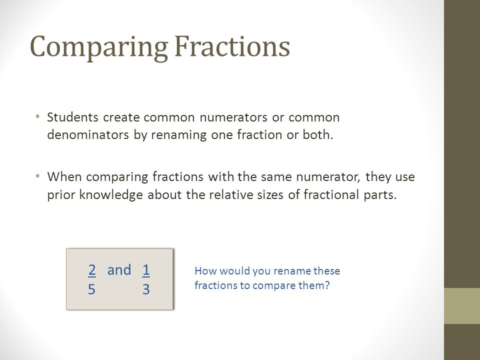 Comparing Fractions 2 and 1 5 3