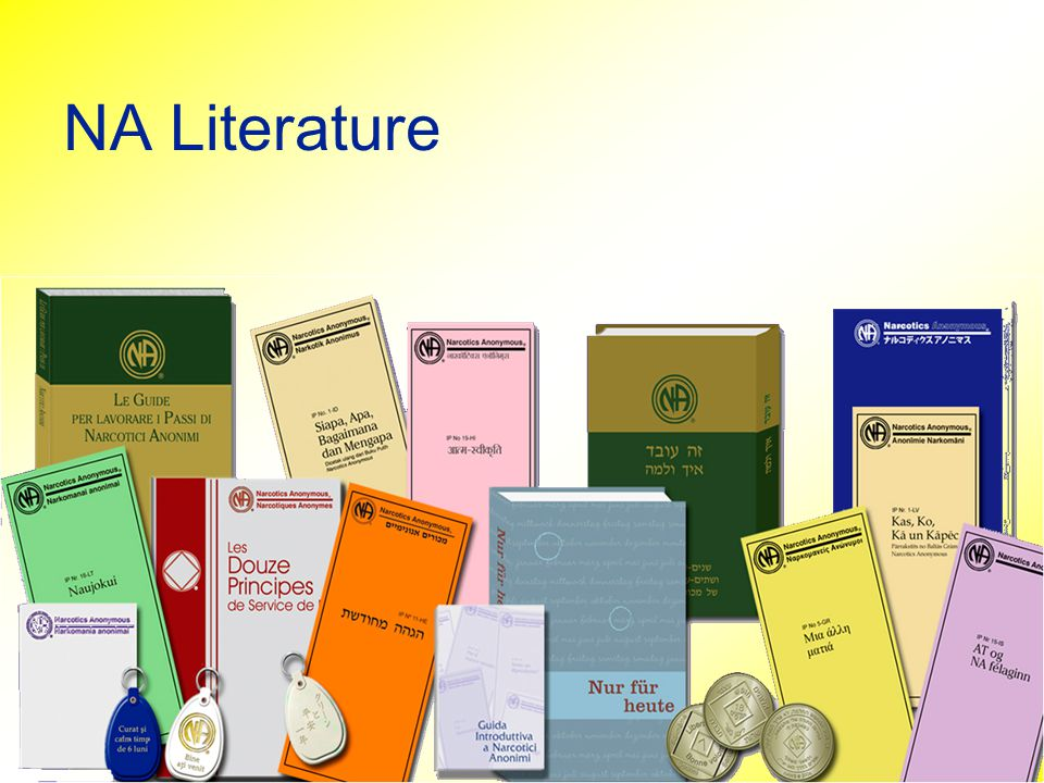 NA Literature Literature – printed tool to reaffirm or transmit key core principles.