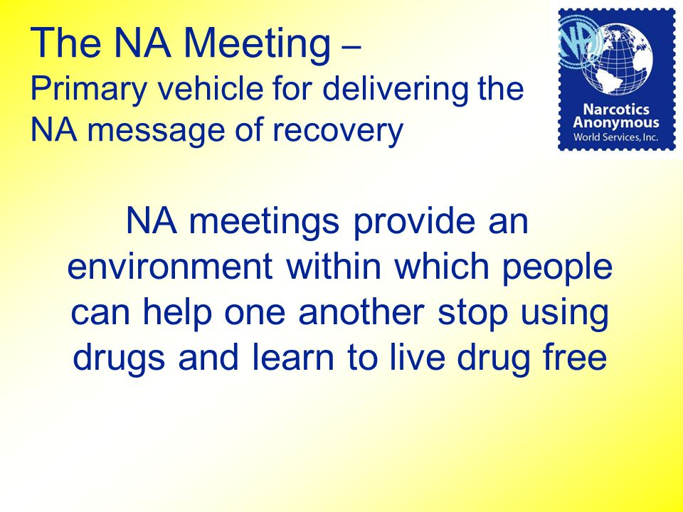 The NA Meeting – Primary vehicle for delivering the NA message of recovery