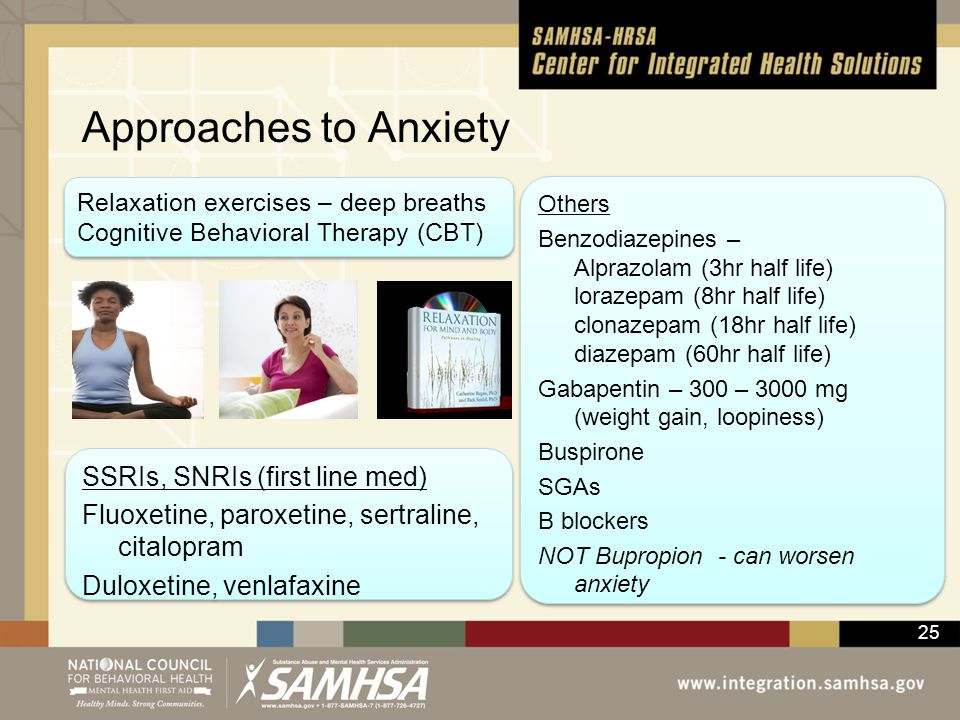 Approaches to Anxiety Relaxation exercises – deep breaths. Cognitive Behavioral Therapy (CBT)