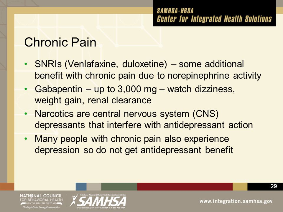 Chronic Pain SNRIs (Venlafaxine, duloxetine) – some additional benefit with chronic pain due to norepinephrine activity.