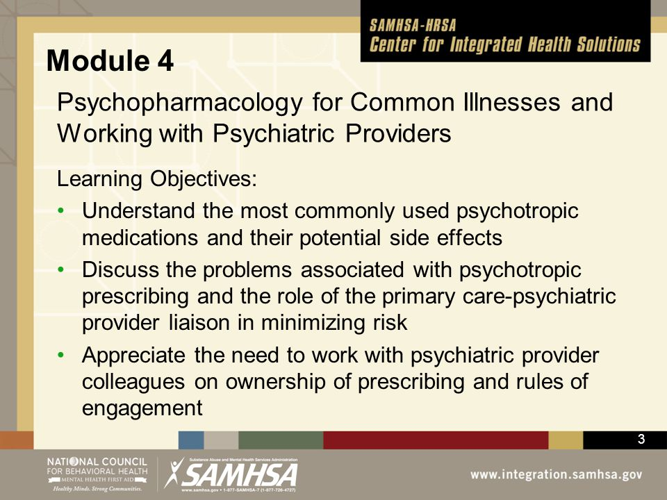Module 4 Psychopharmacology for Common Illnesses and Working with Psychiatric Providers. Learning Objectives: