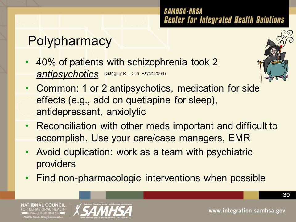Polypharmacy 40% of patients with schizophrenia took 2 antipsychotics