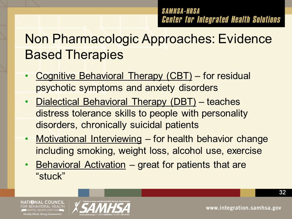 Non Pharmacologic Approaches: Evidence Based Therapies