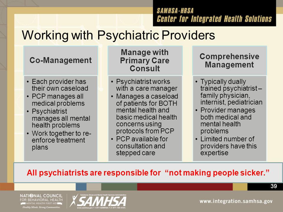 Working with Psychiatric Providers
