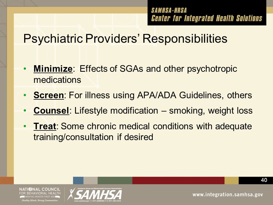 Psychiatric Providers' Responsibilities
