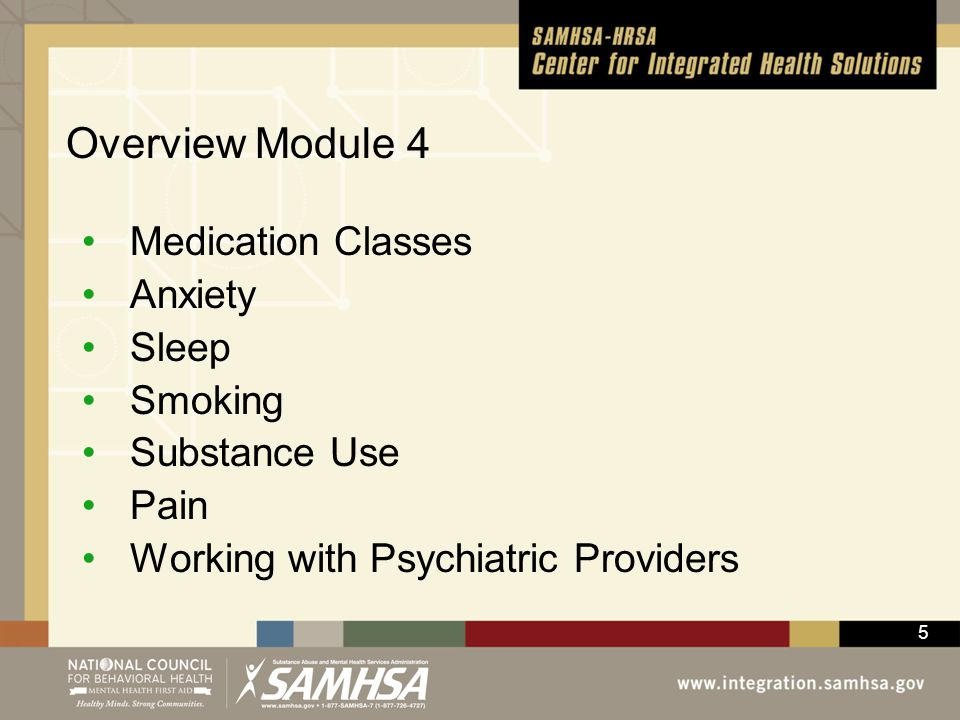 Overview Module 4 Medication Classes Anxiety Sleep Smoking