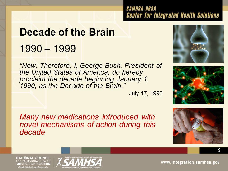 Decade of the Brain 1990 – 1999.